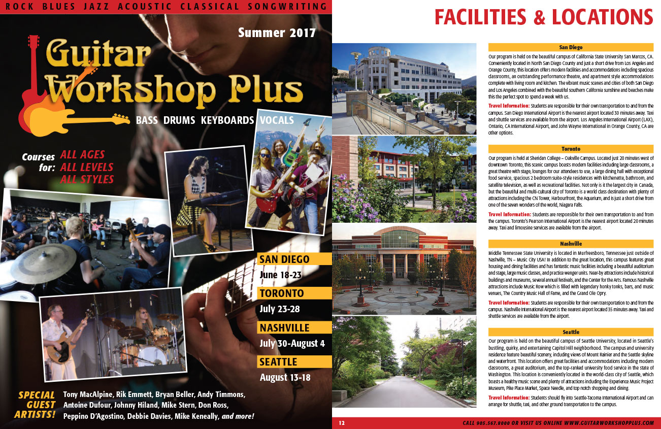 Guitar Workshop Plus Summer 2017 Brochure